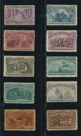 美国1893年哥伦布1分-30分邮票新10枚