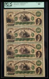 美国四连体钞一件(PCGS 64)