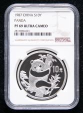 1987年熊猫币发行5周年1盎司精制银币一枚(NGC PF69)