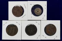 光绪元宝十文铜币三枚、二十文铜币一枚、大正十二年日本五钱硬币一枚,共五枚