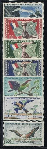 多哥1957年独立、法属中非1960年鸟航空票新各一套