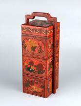 漆器手绘多层提篮盒