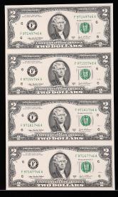 2003年美国2美元四连体钞一件