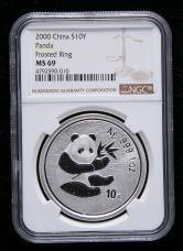 2000年熊猫1盎司普制银币一枚(NGC MS69)