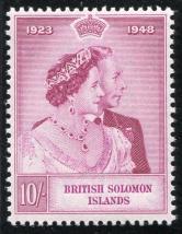 大洋洲1948英属所罗门岛银婚10先令新一枚(新票、高值)