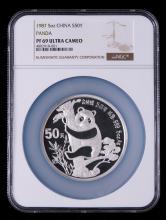 1987年熊猫金币发行5周年5盎司精制银币一枚(NGC PF69)