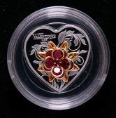 2019年库克群岛施华洛世奇情人节20克心形水晶银币一枚(含银量99.9%、限铸量:2019枚、原盒、带证书)