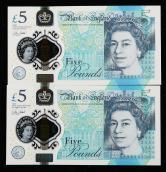 英国塑料钞连号二枚(AA01666361-362)