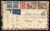 1950年广州航空寄美国封一件、贴纪2(4-3)原版二枚、解放区五星图加盖改值票三枚、3月30日广州戳