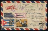 1964年广州航空挂号印刷品寄英国封一件、贴纪97(6-5、6)各一枚、销2月17日广州戳