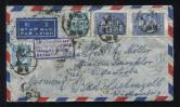 湖南长沙航空寄德国封一件、贴解放区票、纪2、纪3原版共17枚(部分连票、带边)、销2月25日湖南长沙戳