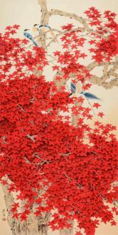 周彦生 红叶翠鸟