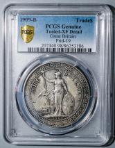 1909年英國站洋26.96克銀幣一枚(含銀量:90%、PCGS XF Detail)