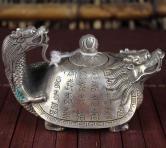 白铜古文龙龟壶摆件