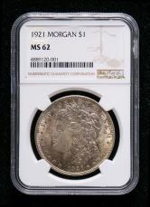 1921年美国摩根26.73克银币一枚(含银量:90%、NGC MS62)
