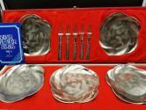 佚名 铜胎镀银水果盘(樱花型)