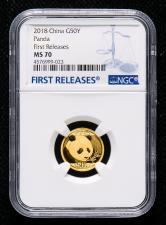 2018年熊猫3克普制金币一枚(首期发行、MS70)