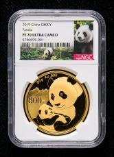 2019年熊猫50克精制金币一枚(原盒、带证书、NGC PF70)