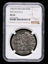 1985年芬兰20克银币一枚(含银量:50%、带包装、带说明书、NGC MS66)