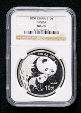 2004年熊猫1盎司普制银币一枚(NGC MS70)