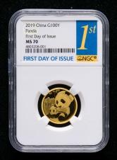 2019年熊猫8克普制金币一枚(首日发行、NGC MS70)