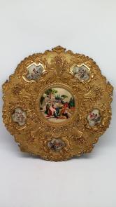 旧藏西洋嵌手绘珐琅刻花铜鎏金挂盘一件