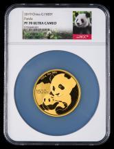2019年熊猫100克精制金币一枚(原盒、带证书、NGC PF70)