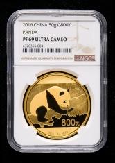 2016年熊猫50克精制金币一枚(原盒、带证书、NGC PF69)