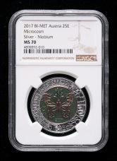 2017年奥地利银铌币一枚(含9克银、6.5克铌、带盒、带证书、NGC MS70)