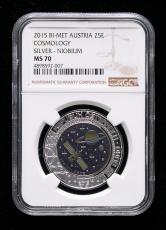 2015年奥地利银铌币一枚(含9克银、6.5克铌、带盒、带证书、NGC MS70)