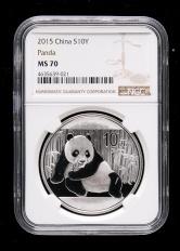 2015年熊貓1盎司普制銀幣一枚(NGC MS70)
