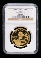 1998年熊猫1盎司普制金币一枚(小字版、NGC MS69)