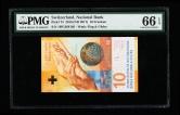 2016年瑞士纸钞一枚(16P1368105、PMG 66EPQ)