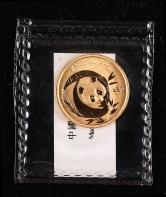 2003年熊猫1/10盎司普制金币一枚(带盒)