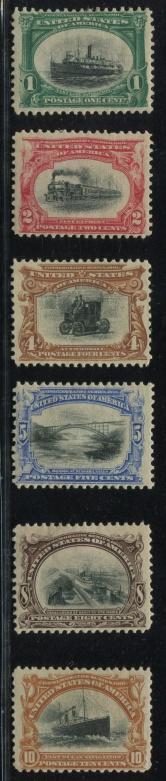 美国1901年A109-114原版票新六全