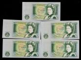 英国纸币连号五枚(DY13586664-6668、含狮子号一枚)