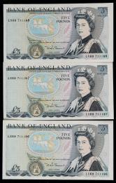 英国纸币连号三枚(LX69711186-188)
