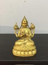 藏传铜鎏金宗喀巴寸佛造像