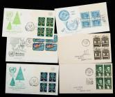 贴美国邮票四方联首日封旧122件
