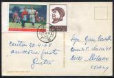 1968年广州航空寄意大利明信片一件、贴文4(35分)、文5沙家浜各一枚(部分带边)、销4月28日广州戳