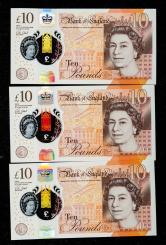 英国塑料钞三枚(豹子号)