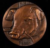 2007年上海造币厂铸猪年生肖大铜章一枚(直径:80mm、带盒、带说明书)