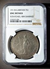 1911年英国站洋26.96克银币一枚(含银量:90%、NGC UNC DETAILS)