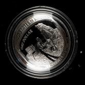 2019年美国阿波罗11号登月50周年1盎司银币一枚(含银量:99.9%、原盒、带证书)