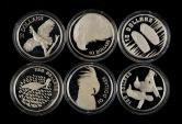 1989年-1992年澳大利亚40克银币各一枚,共六枚(含银量:92.5%、带盒、部分带证书)