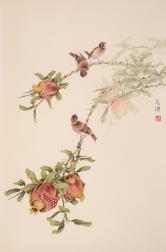 郑志伟(河北美协)石榴三雀图