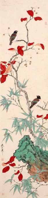 韩建文(央美硕士)红叶双禽