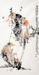 李傅宇(当代书画名人)观画图