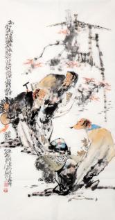 李傅宇(当代书画名人)高士对弈图