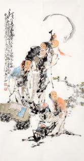 李傅宇(当代书画名人)读书图